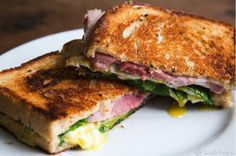 By Dr Jane Varney     Ham, swiss cheese, & spinach toasties   Serves 2        Image via simplyrecipes.com   Ingredients:      4 slices sourd...