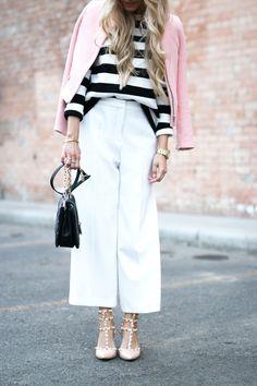 Outfit White Zara Culottes Blush Blazer Striped Shirt 2