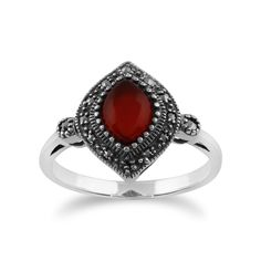Show details for 925 Sterling Silver 1.00ct Carnelian & Marcasite Art Deco Ring