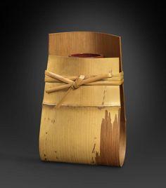 """Bamboo hanging basket (Kake-hanaire called """"Shime""""), Iizuka Rōkansai."""