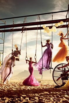 muscle beach, swings, sand, colorful gowns #editorial