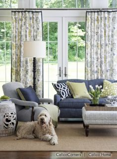 Indigo and Citron Fabric Collection - Living Room View 1