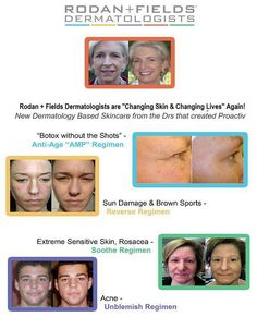 Results from our line of skin care. Totally untouched photos that are from real customers. The ingredients from Rodan + Fields include the right ingredients in the right order. Dermatologists will tell you that  you need a complete regime to produce results, erase damage and further protect your skin from aging.    www.jcappelletti.myrandf.com