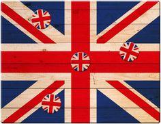Magnettafel 40 x 30 cm Union Jack Wood inkl. 4 Magnete UK United Kingdom