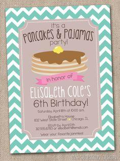 What an adorable idea!!  Pancakes and Pajamas Printable Birthday Party Invitation Chevron Stripes