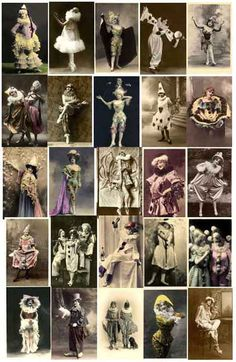 Everything Vintage Children, Women, Men and Couple Pierrot Clowns Image Collection to Download