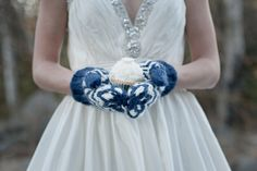 Something Blue Wedding Mittens for Bride and Bridesmaids