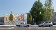 Superimposed image of the Chris Haberman mural on the MHS J.C. Lillie Auditorium. #MilwaukieArtMOB #Milwaukie #Oregon