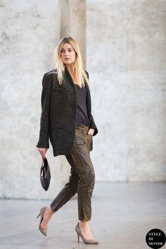 boyfriend blazer & Marant leather. Camille in Paris. #CamilleOverTheRainbow