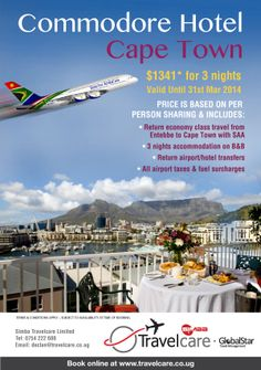 Commodore Hotel Cape Town  $1,341 for 3 Nights (Valid until 31st March 2014)