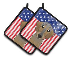 American Flag and Wirehaired Dachshund Pair of Pot Holders BB2163PTHD