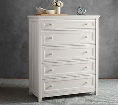 """Beadboard 5-Drawer Dresser #potterybarn;  37.5"""" wide x 20.5"""" deep x 48"""" high"""