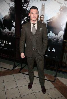 Luke Evans inRalph Lauren Purple Labelthree-piece #suits