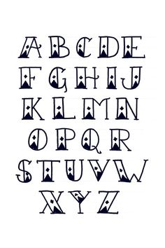 sailors diamond tattoo font alphabet print art print