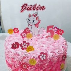Marie Kitty Cake + 50 Cute Ideas to Get Inspired . Bolo Rapunzel, 5th Birthday, Birthday Cake, Kitten Cake, Baptism Party Decorations, Cake Hacks, Cat Party, Kitty, Inspired