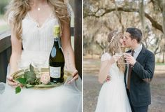 Kind of obsessed with the idea of photographing a champagne toast with just the bride & groom. Also: her dress.