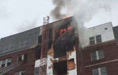 Crews are working to put out a 3-alarm fire that started at an apartment building near the University of Maryland College Park campus.