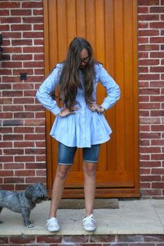double denim, charlotte from sistersofstyle wearing denim shirt with denim shorts
