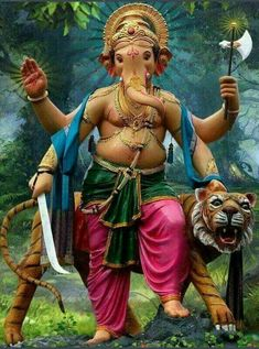 Sri Ganesh, Ganesha Art, Lord Ganesha, Lord Shiva, Saraswati Goddess, Indian Art Paintings, Ganpati Bappa, Elephant Head, Indian Gods