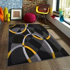 Allstar Yellow Exclusive Modern Transitional Linear Design Rug - X Cute Living Room, Living Room Red, Living Room Carpet, Living Room Decor, Bedroom Decor, Grey And Yellow Living Room, Bedroom Red, Transitional Decor, Modern Area Rugs