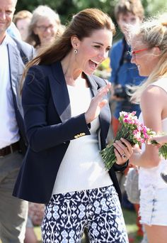 Catherine, Duchess of Cambridge visits the Island of St Martin's in the Scilly Isles on September 2, 2016 in St Martins, England.