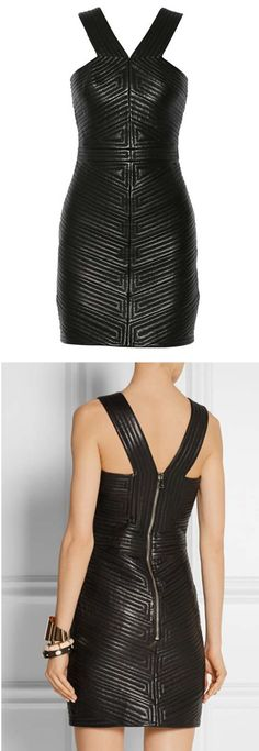 Balmain quilted leather mini dress  Spring 2015 | The House of Beccaria~