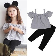2017 Cute Newborn Kids Baby Girl Summer Off Shoulder Striped Tops T Shirt Long Pants Outfit Clothes Set Boys Formal Suits, Girls Formal Dresses, Baby Girl Romper, Baby Dress, Baby Girls, Pants Outfit, Outfit Sets, Toddler Fashion, Kids Fashion