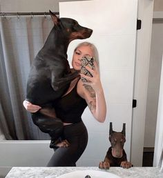 Big baby and smoll baby 😜😂 Baby shark dober dOO Baby 😇 . Black Doberman, Doberman Love, Doberman Pinscher Dog, Rottweiler Dog, Mini Pinscher, Cute Funny Animals, Cute Dogs, European Doberman, Golden Retriever