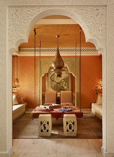 Qatar private villa Moroccan Room Living Moroccan by Katharine Pooley Morrocan Decor, Moroccan Room, Moroccan Interiors, Moroccan Lounge, Moroccan Lanterns, Moroccan Design, Moroccan Style, Design Marocain, Arabic Decor