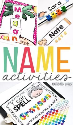 These fun and engaging name activities are perfect for the beginning of the year for kindergarten or throughout the year for preschool name practice. Kindergarten Names, Preschool Names, Preschool Literacy, Kindergarten Activities, Preschool Activities, Preschool Alphabet, Alphabet Crafts, Alphabet Activities, Handwriting Activities