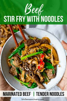 Beef Chow Fun is a quick and easy Cantonese stir fry recipe with marinated beef and noodles. Simple and really tasty! #beefchowfun #cantonese #noodles #stirfry #quickdinner #asianfood Stir Fry Noodles, Beef And Noodles, Rice Noodles, Asian Recipes, Beef Recipes, Asian Foods, Noodle Recipes, Easy Dinner Recipes, Easy Meals