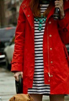 White + navy stripes under a bright, red raincoat