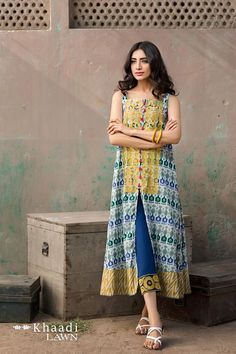 Khaadi Lawn 2017 Two Piece Collection For Girls; is coming to the shops on March So get this latest collection of Khaadi Lawn 2017 Vol 2 for this Pakistani Dresses Casual, Indian Dresses, Indian Outfits, Indian Attire, Indian Wear, Indian Designer Outfits, Designer Dresses, Stylish Dresses, Casual Dresses