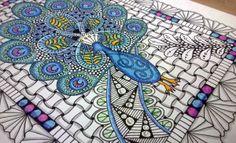 Coloured Peacock Zentangle close up | Black Flower Creative
