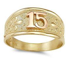 quinceanera ring cz 14k yellow gold 15 birthday