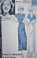 1930s STRIKING Dress with Wrapped Effect Vintage Hollywood Pattern 725 Movie Star Ann Dvorak