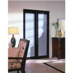 2230 Series Wood Framed Espresso Laminated Frosted Glass Bi-Pass Door- Home Decor Innov