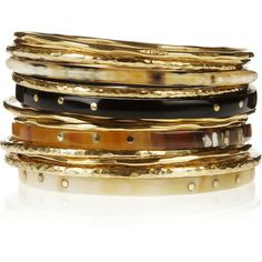Ashley Pittman Kumi set of 14 bronze and horn bangles ($435) ❤ liked on Polyvore