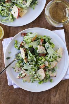 Shaved Broccoli Salad with Apples, Bacon, and creamy yogurt dressing