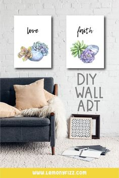 Design your own home decor using Canva. This quick and easy tutorial will walk you through the DIY wall art process step-by-step. Decor Crafts, Diy Home Decor, Fun Printables For Kids, Design Your Own Home, Planner Dividers, Succulents Diy, Business For Kids, Diy Wall Art, Printable Wall Art