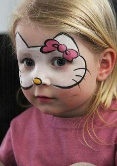Halloween make-up ideas children - 13 incredibly great and easy .- Halloween Schminkideen Kinder – 13 unheimlich tolle und einfache Ideen Halloween make up ideas children – 13 incredibly great and simple ideas – Hello Kitty – face painting - Maquillage Hello Kitty, Girl Face Painting, Simple Face Painting, Easy Face Painting Designs, Princess Face Painting, Face Painting Tips, Cake Painting, Face Painting Tutorials, Dream Painting