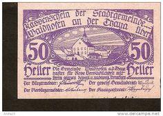 A44. Austria, Kassenschein der Stadtgemeinde WAIDHOFEN an der Thaya - 50 Heller 1920 - 2 auflage & Gemst. 29 mm stamp