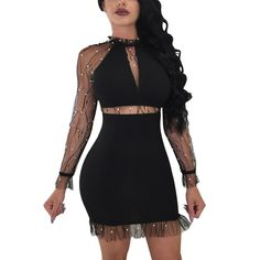 02a74c1612ca Womens Nail Beads Long Sleeve Evening Party Sexy Mini Dress Club Dress