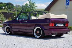 VW Golf 1 Cabrio in lila Vw Golf Cabrio, Volkswagen Golf Mk1, Golf 1 Cabriolet, Vw Mk1, Golf Mk2, Lifted Golf Carts, Convertible, Vw Scirocco, Bmw