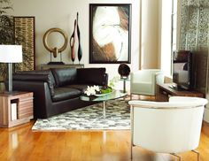 Add a white accent chair for a light and airy feel / CORT Clearance Centers