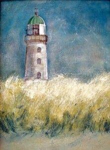 Rostock Warnemünde Alter Leuchtturm Ostsee Acrylbild Malen mit Acryl - Acrylmalerei