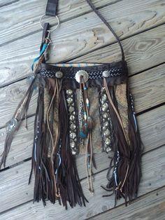 Large Handmade Western Bag Boho Hippie Leather Fringe Purse Cross Body tmyers #Handmade #MessengerCrossBody