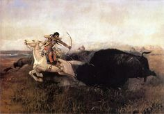 'Indians Hunting Buffalo' - 1894, Charles Marion Russell   ❦