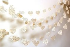 Vintage Paper Hearts Garland French or Choose Your Language/Length Weddings, Photo Prop, Interior