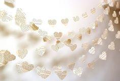 Vintage Paper Hearts Garland - Wedding Garland - Vintage French - Paper Garland - Party Decoration - Nursery Decor - Choose Your Language